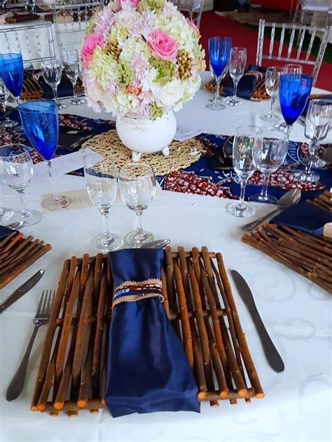 African Traditional blue, cream & gold wedding decor by
