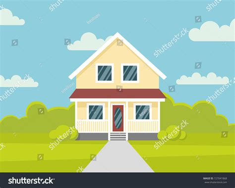 traditional house family home flat design stock vector