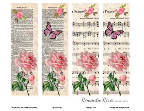 printable bookmarks vintage free printable download romantic rose bookmarks