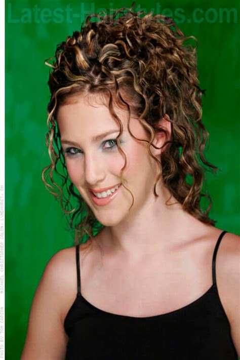 hairstyles with partial bangs partial updo long curly hair short curly hair