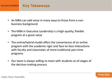 State Mba Requirements by Oregon State Mba Portland Programs Overview