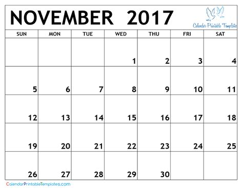 november 2017 calendar printable template pdf uk usa