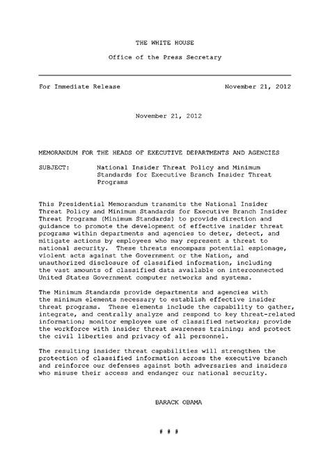 Presidential Briefformat presidential memo on insider threats why now