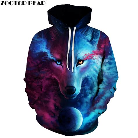 Hoodie Wolf sale brand wolf printed hoodies 3d sweatshirt quality plus size pullover novelty 6xl