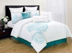 panache bedding teal seafoam green white paisley pattern king queen size  pc comforter bed set