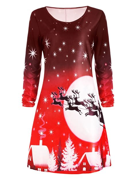 christmas deer long sleeve dress in red m sammydress com