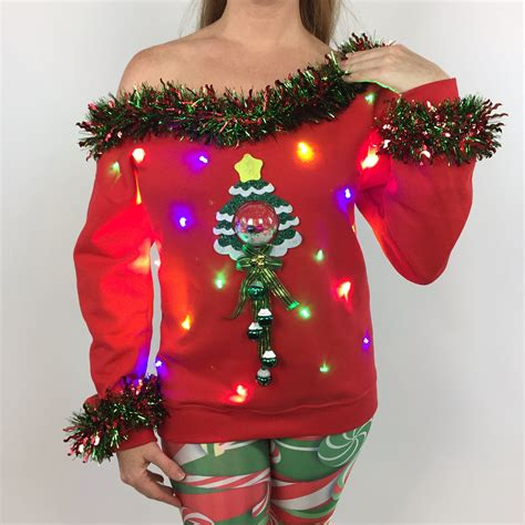 light up ugly christmas sweater the tree isnt the only thing getting lit s sweater light up tree tacky triachnid