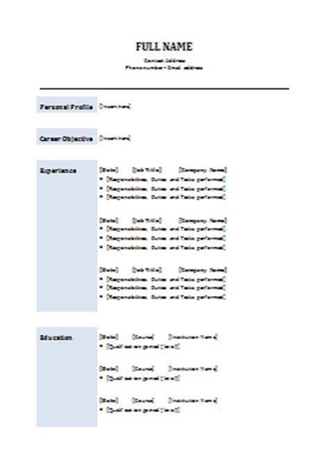 Example Chronological Resume by Classic Cv Template