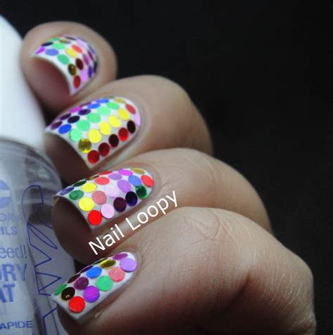 nail loopy rainbow disco glequin nails