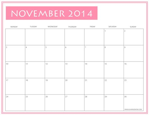 printable planner november 2014 free printable november 2014 calendars by shining mom