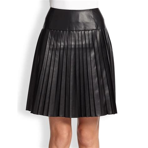rank style calvin klein faux leather pleated skirt