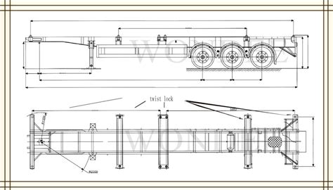 group layout exle code titan skeleton container 53ft 3 axles chassis semi trailer