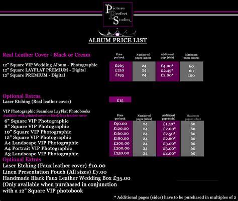 wedding album price list wedding photography in hertfordshire picture studios