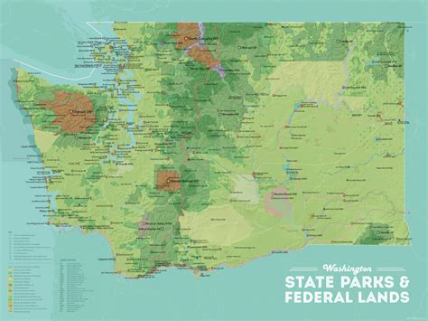 map us federal lands washington state parks federal lands map 18x24 poster