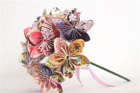 Origami Flower Bouquets - origami paper flower bouquet pink purple and yellow