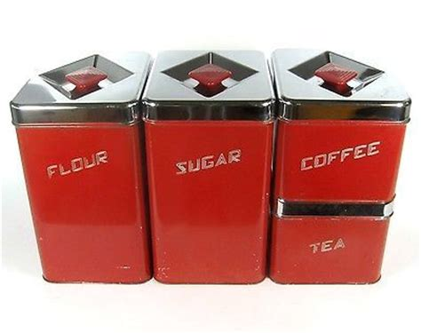 vintage waratah red aluminium chome kitchen canisters vintage masterware canette metal kitchen canisters in rare