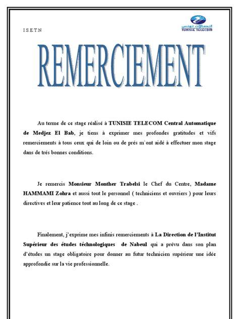 Présentation Lettre De Remerciement Rapport De Stage Aymen