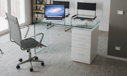 scrivania in vetro curvato scrivania b desk in vetro curvato con 3 cassetti