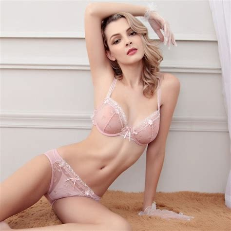 hot 2016 european and american plus size thin women sexy lace bra and brief sets transparent sexy