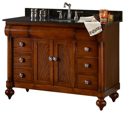 48 Vanity With Granite Top by 48 Quot Vanity Brown Cherry And Gold Hill Granite Top Traditional Bathroom Vanities