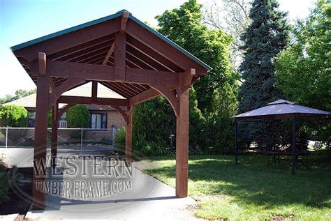 free standing gazebo free standing pavilion with early american stain and