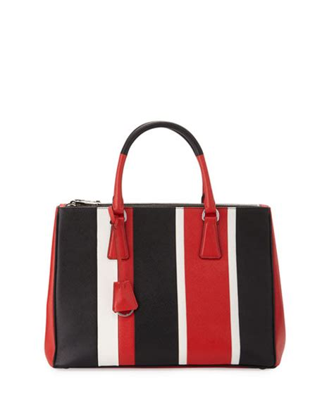 Prad Org Address Search Prada Saffiano Baiadera Striped Galleria Tote Bag White Black Lacca Bianco Nero