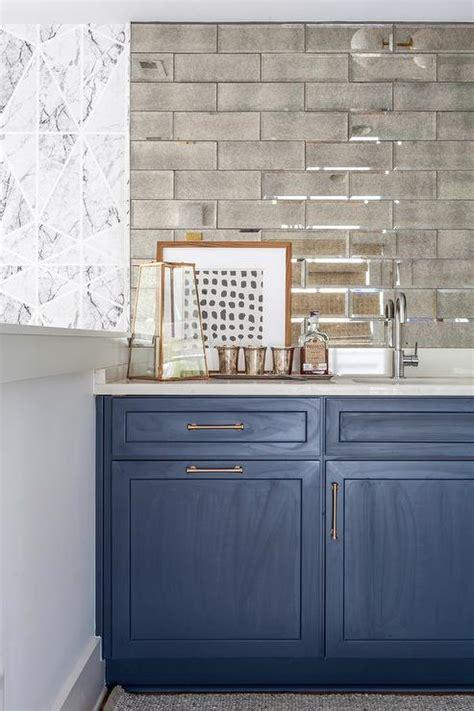 Antiqued Mirror Herringbone Bar Backsplash   Transitional