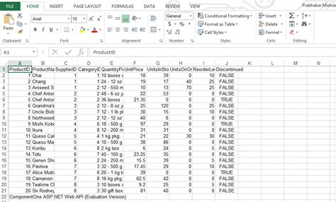 how to generate excel from xml and json data using c