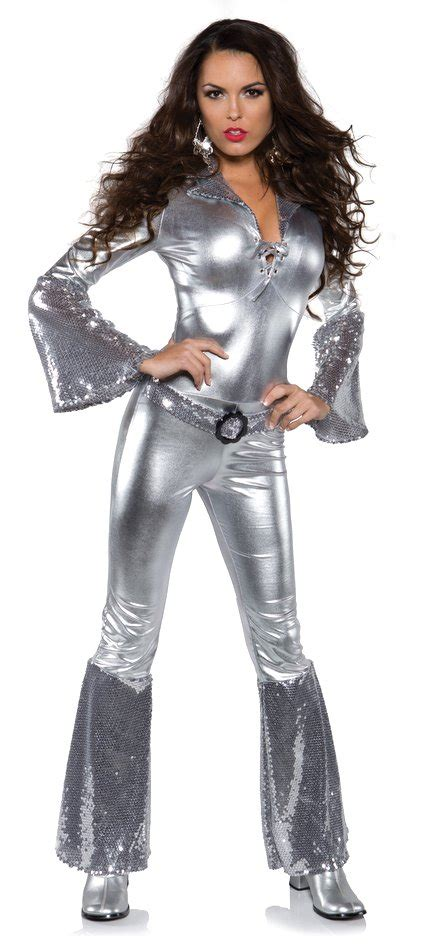 44194 Black Retro Pattern S M L Jumpsuit s silver foxy disco jumpsuit costume apple