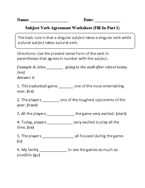 Subject Verb Agreement Printable Worksheets by 12 Best Images Of Subject Verb Agreement Worksheets 3rd