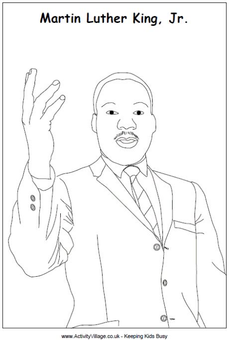 coloring page of dr king martin luther king colouring page