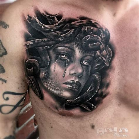 chest to arm tattoo designs medusa chest best design ideas