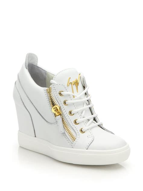 white wedge sneakers giuseppe zanotti leather high top zip wedge sneakers in