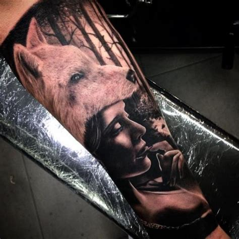 tattoo girl and wolf wolf girl realistic tattoo by drew apicture best tattoo