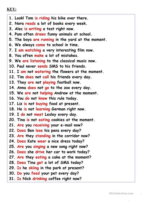 sentence pattern of simple present tense revision present simple or present continuous worksheet