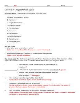 section 3 3 cycles of matter answers worksheets cycles of matter worksheet opossumsoft