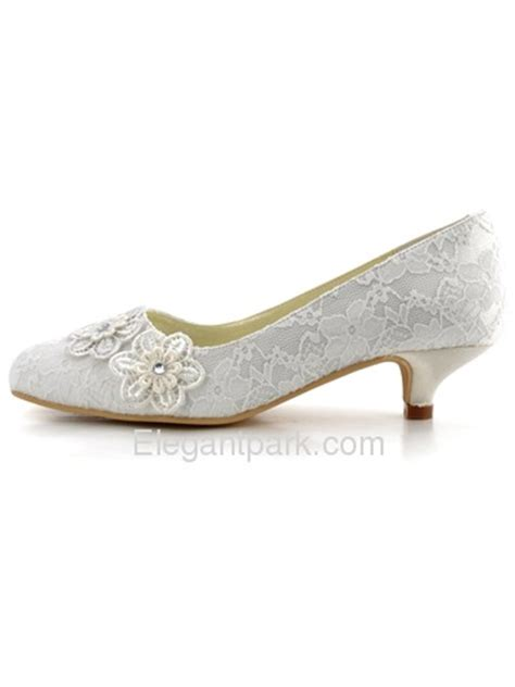 Wedding Shoes Low Heel Ivory by Elegantpark Ivory Closed Toe Appliques Lace Low Heel