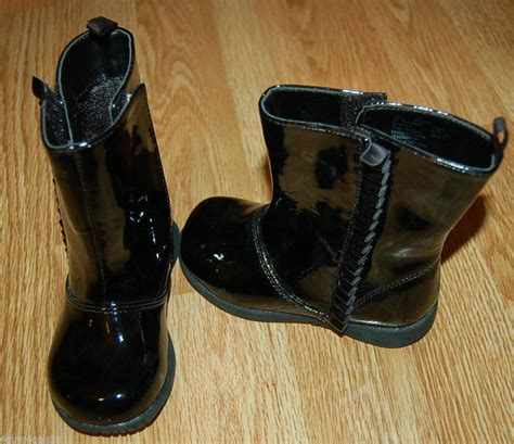 toddler black shiny patent leather ruffles boots