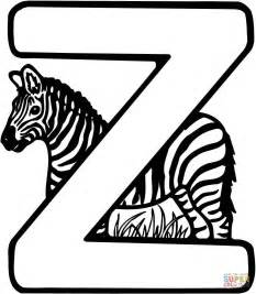 letter z is for zebra coloring page free printable
