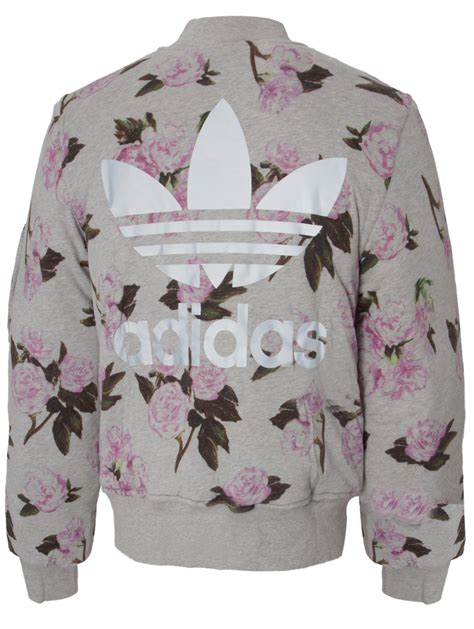 Pink Flower Jacket for adidas padded floral bomber jacket grey pink lyst