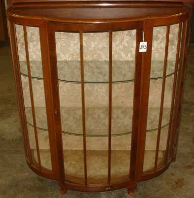small bow front china cabinet w multi glass 409237