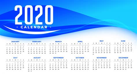 happy  year  calendar template  abstract blue wave  vector