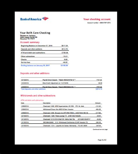 Bank Statement Bank America Template Income Earnings Monthly Fake Custom Printable Bank Of America Bank Statement Template