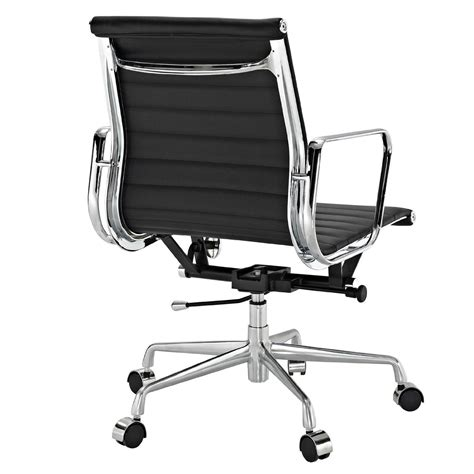 modern leather desk chair amazon com ribbed mid back office chair in black genuine