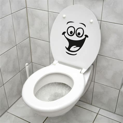 funny bathroom stickers smiley face wc toilet decal wall mural art decor funny