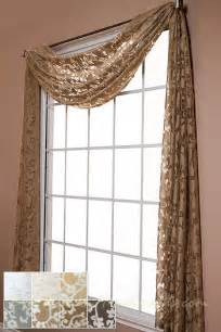 Drapery Toppers Palazzo Scroll Semi Sheer Scarf Swag Window Topper