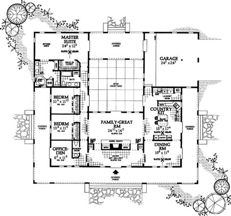 Open Floor Plans With Wrap Around Porch by Ranch Style House Plans 2539 Square Foot Home 1 Story