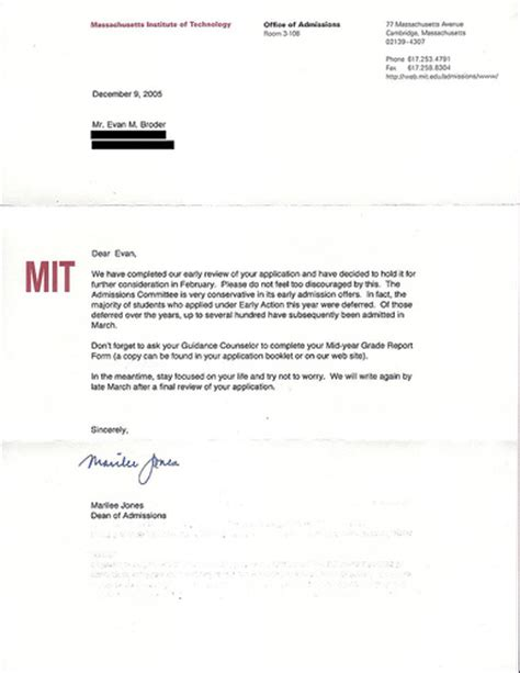 College Deferral Letter Mit Deferral Letter Address Covered To Protect The Innocen Flickr