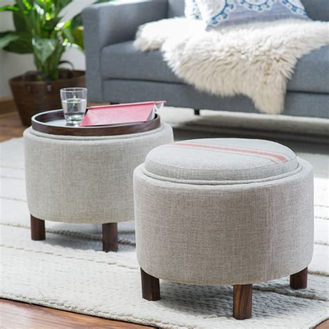 storage ottoman with tray belham living ingram storage ottoman with cocktail