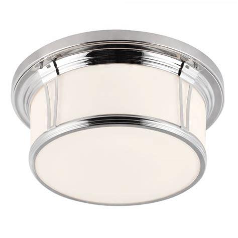 Flush Mount Bathroom Ceiling Light by Classic Flush Bathroom Ceiling Light In Polished Nickel W White Glass